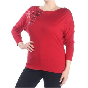 Alfani Red Sweater with Sequin Embellishment